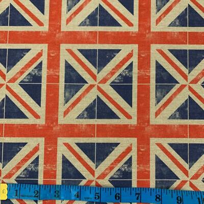 £11.50 • Buy LINEN LOOK COTTON UNION JACKS - Crafts, Curtains, Upholstery , 54 /138cm Wide
