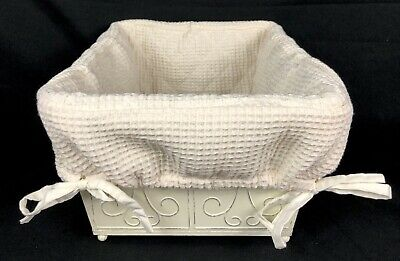 $18.99 • Buy Pottery Barn Metal Storage Bin Container With Liner Rustic Shabby Chic 14x10x6