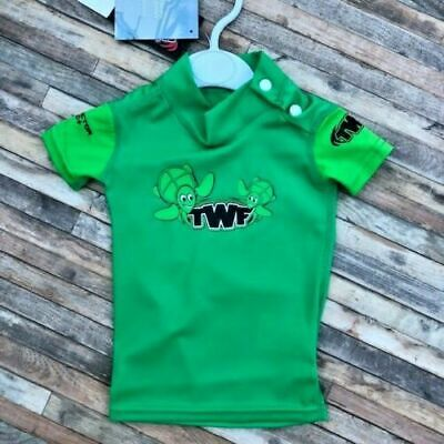 £1.50 • Buy 0-3 Months Baby Green Turtle Twf Rash Vest Chest 17  Poppers On Shoulder Bnwt