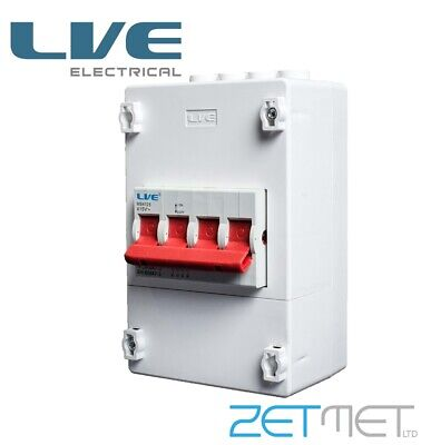 £14.95 • Buy Live 125 Amp 4 Pole Terminal Mains Switch Enclosure Supply Isolator Meter Tails