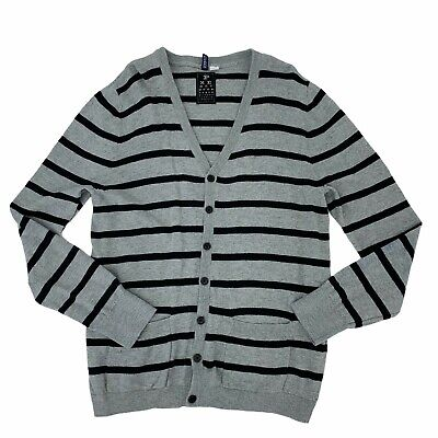 $17.94 • Buy Divided Cardigan Sweater Men's Size Large Striped Long Sleeve Button Up Casual