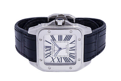 $4799.99 • Buy Cartier Santos 100 2656 XL 38mm Silver Dial SS & Black Leather Band Wrist Watch