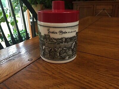 $12 • Buy Vintage Echt Opaline Milk Glass Tea Coffee Canister Containter With Red Lid