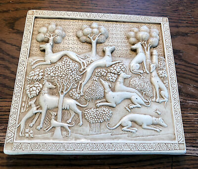 """£25.67 • Buy Greyhound Deer Hunter Dog Stone Animal Sculpture Wall Decor Plaque 8"""" By 7 1/2"""