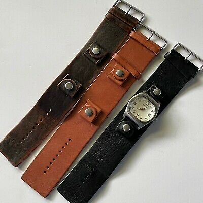 $88.99 • Buy Fossil Mens Leather Band Cuff Interchangable Watch Set Stainless Steel Brown