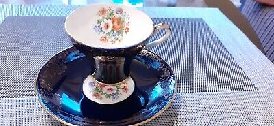 £16.99 • Buy Vintage Aynsley Tea Set  Cobalt Blue ,Gold And Roses Pattern,1 Cup And 1 Saucer