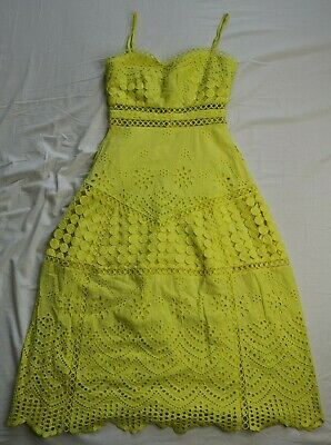 £34.99 • Buy ASOS Women's Yellow Premium Lace Broderie Midi Dress Size 6 Good Used Condition