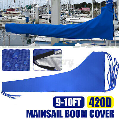 $34.38 • Buy 420D Mainsail Boom Cover Sail Protector Waterproof Fabric Blue For 9-10ft Boom