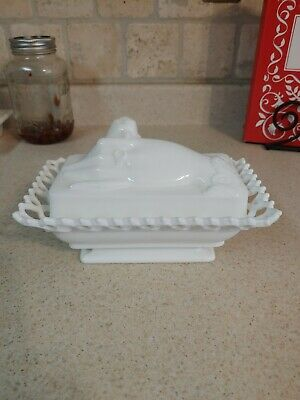 $23.99 • Buy Vintage Atterbury & Co Milk Glass Hand And Dove Covered Butter Dish