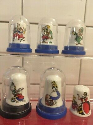 £8.90 • Buy  Alice In Wonderland  Theme,collection Set Of 6 Thimbles Inc 5 X Cases