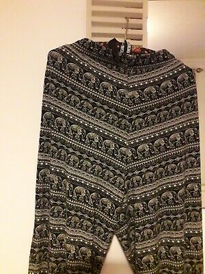 £7 • Buy Ethnic Viscose Trousers Harem Tu 14-16 Relaxed Immaculate.elephants Pattern