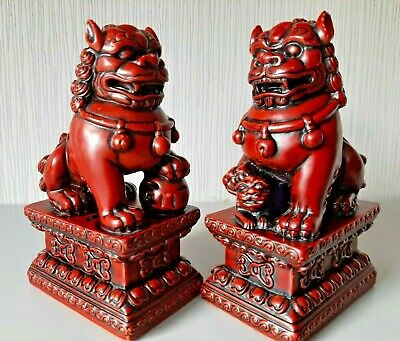 £27.95 • Buy Chinese Foo Dogs Pair Of Resin Statues
