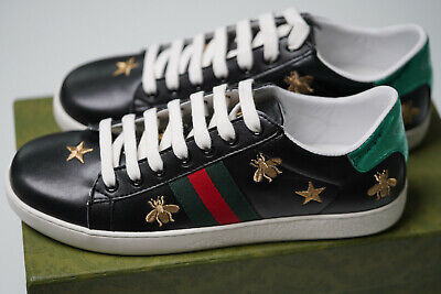 AU542.16 • Buy Gucci Men's Ace Embroidered Sneaker In Black Leather With Bees Size 42 Euro 9 US