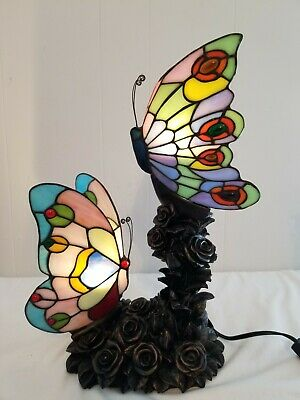 £86.34 • Buy Tiffany Style Stained Glass Double Butterfly Table Lamp 17  Tall Rose Bush Base
