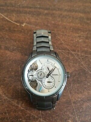 $49.99 • Buy Fossil Twist Men's Watch Stainless White Face Analog Semi Skeleton Needs Battery