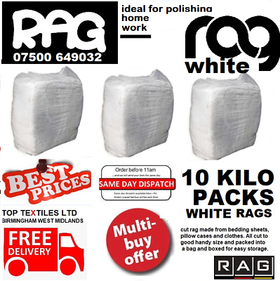 £19.99 • Buy 10kg Bag White Cotton Mix Cleaning Rags Wipers Ideal For Wood, Metal, Glass