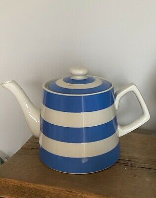 £45.99 • Buy RARE TG Green Blue & White Cornishware Conical Teapot With Square Handle