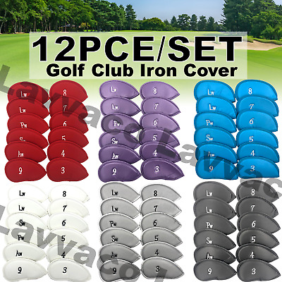 AU22 • Buy 12 Pcs Golf Head Cover PU Leather Iron Club Putter Cover Protector Set