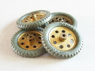 £8 • Buy 4 Meccano Grey Rubber Tyres On 1 1/2 Inch Brass Pulleys Part 142d 21