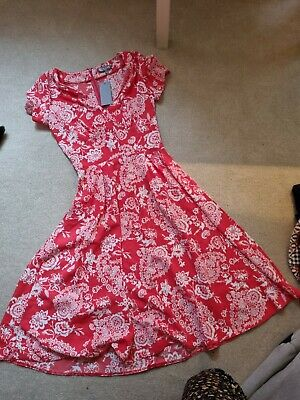 £8.50 • Buy Asos Love Red And White Floral V Neck Dress Size XS 6 8