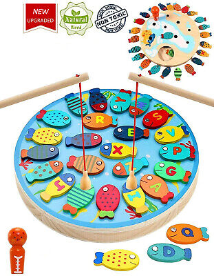 £9.99 • Buy Wooden FISHING GAME Magnetic Catch And Count Fun Play Alphabet Fishing Toy