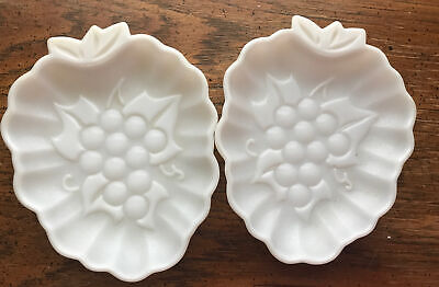 $12 • Buy 2 Vintage White Milk Glass Leaf Shape Candy Dish With Grape Pattern Design