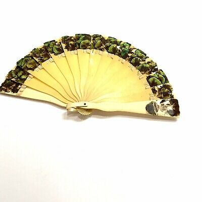 £25.17 • Buy ANTIQUE Handheld Celluloid Small Fan With Peacock Feathers