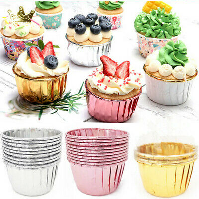 £4.39 • Buy 50PC Aluminum Foil Cup Cake Cases Muffin Cupcake Wrappers Paper Wedding Party