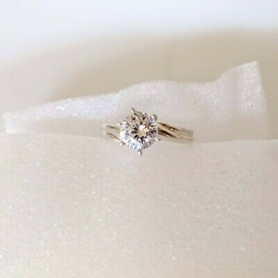 $ CDN47.84 • Buy QVC Diamonique Sterling Silver 925 Ribbed Band Ring 2 Ct Solitaire Sz 9 -Vintage