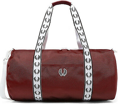 $ CDN95.27 • Buy FRED PERRY 2021 Track Barrel Bag MAROON Red Gym LAPTOP Work Travel Backpack SALE