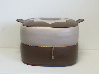£70 • Buy Retro 1960s/1970s Sherbourne Brown & Beige Vinyl Square Footstool Or Pouffe