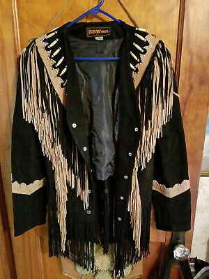 $69.99 • Buy 3B West By Tansmith Black Suede Leather Fringe Beaded Native American Jacket  L