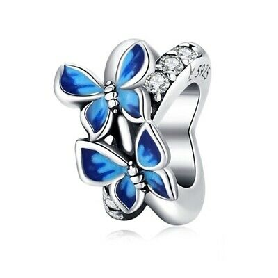 AU24.99 • Buy SOLID Sterling Silver Sparkling Blue Butterfly Spacer Charm By YOUnique Designs