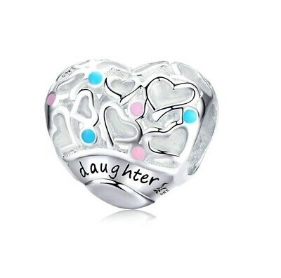 AU24.99 • Buy SOLID Sterling Silver Daughter Heart Gift Family Charm By YOUnique Designs