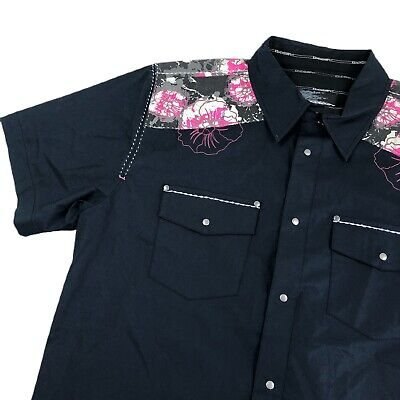 $25 • Buy Oakley Collared Shirt Mens L Snap Button Floral Crazy Paint Splatter Embroidered