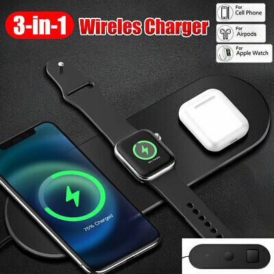 AU19.85 • Buy 3-In-1 Qi Wireless Charger Charging Station Dock For Airpods IPhone Apple Watch