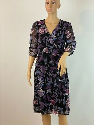 $ CDN60.42 • Buy S Oliver Floral Chiffon  Wrap Knee Lenght Boho Retro 3/4 Sleeves Size 10-14