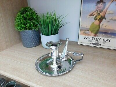 £40 • Buy Antique Roberts & Belk Candle Holder And Snuffer Silver Plated (c1910)