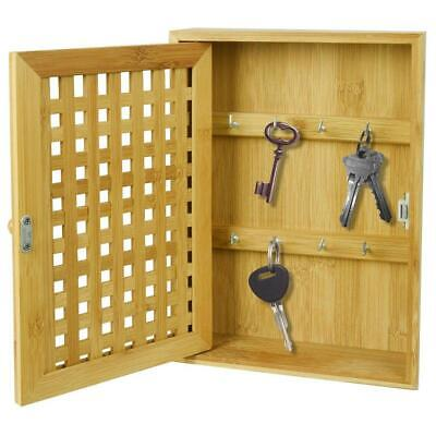 £12.50 • Buy Bamboo Key Rack Box Storage Cabinet Brackets Wooden Wall Mounted Porch Cupboard
