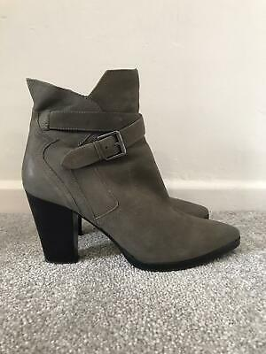 £37.99 • Buy Mint Velvet Boots Size 6 Grey Leather High Heeled Ankle Chelsea Boots EU 39