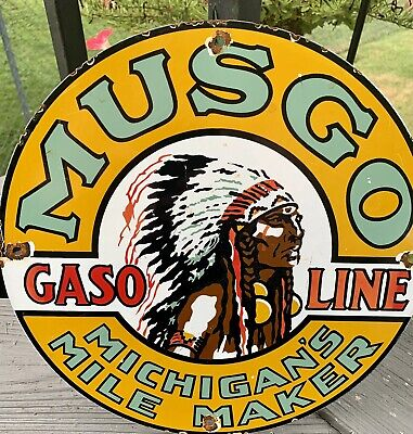 $ CDN156.82 • Buy VINTAGE Musgo Indian Chief PORCELAIN GAS OIL SERVICE STATION SIGN PUMP PLATE AD