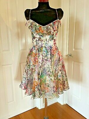 AU50 • Buy Forever New Beautiful 100% Silk Multicolour Floral Print Dress Size 10