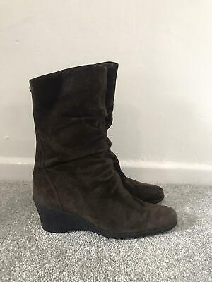 £38.99 • Buy Russell & Bromley Boots Size 5 Brown Suede Calf Wedge Boots AQUATALIA