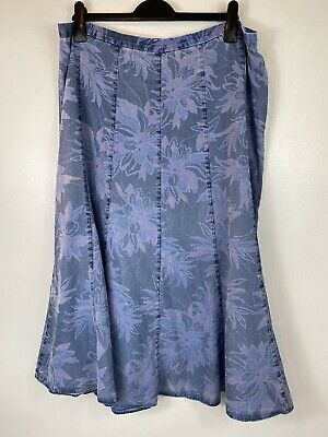 £17.90 • Buy Marks And Spencer Classic Denim Long Floral Button Skirt Sz 18