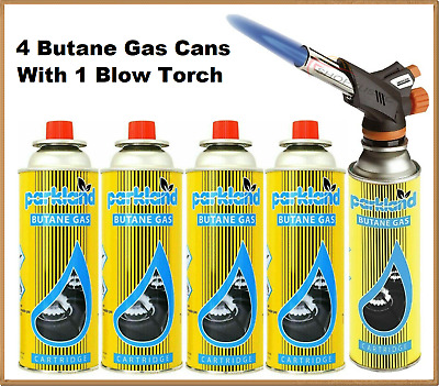 £14.89 • Buy Blow Torch Butane Gas With 4 Bottles Burner Welding Auto Ignition Soldering BBQ
