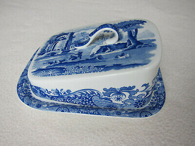£19 • Buy Spode Italian Pattern Butter / Cheese Sloped Dish - Blue/White. C1816 Y Design.