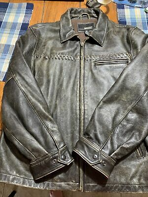 $99.99 • Buy Men's BKE67 Distressed Brown  Leather Jacket Size L Flannel Lined