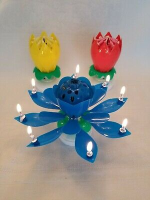 $ CDN18.82 • Buy 3 PACK * Amazing Lotus Flower Magical Birthday Candle * 3 PACK Blue Yellow & Red