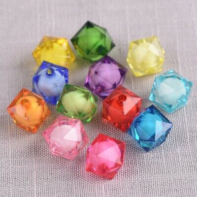 £1.85 • Buy 50pcs Cube Colorful Octagon Acrylic Plastic Loose Beads For DIY Jewelry Making