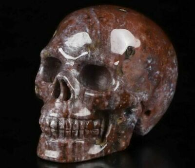 $22.99 • Buy 2.0 IN Genuine RED MOSS AGATE Carved Crystal Skull, Realistic, Healing #1491